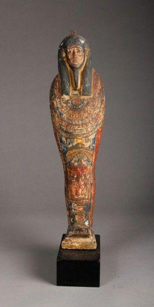 Ptah-Sokar Osiris en bois stuqué polychrome....