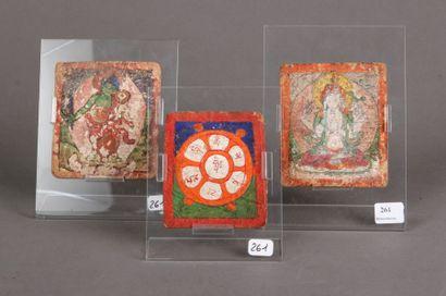 Trois miniatures pieuses Tibétaines en p...