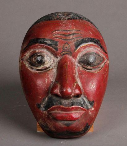 Masque Topeng Balinais laqué en rouge aux...