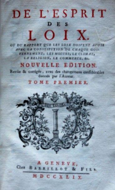 De l'Esprit des Loix, Nouvelle édition. Genève,...
