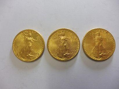 3 PIECES de 20 dollars EU, 1924, or jaune,...