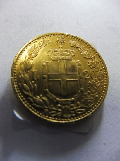 1 PIECE de 20 lires italienne, 1882, or jaune,...