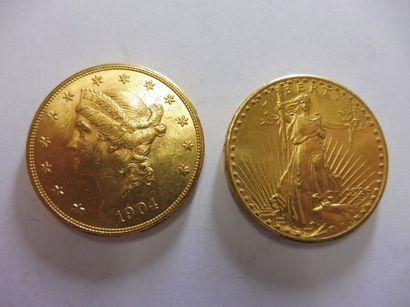 2 PIECES de 20 dollars EU, 1904 et 1926,...