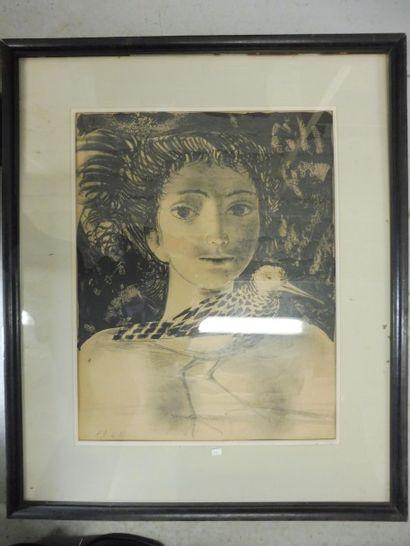 ''jeune fille à la bécasse''  Lithographie...
