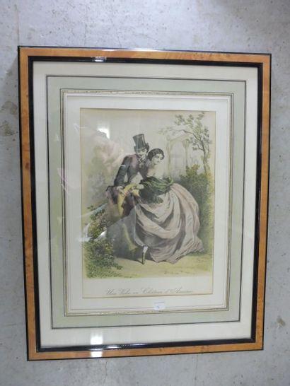 ''une valse au château d'ASNIERES''  Lithographie...