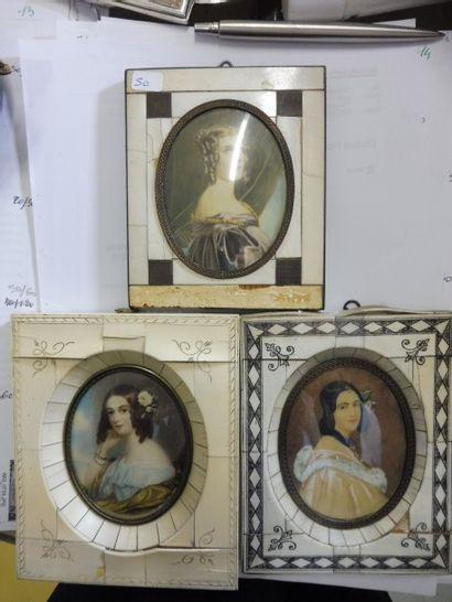 3 MINIATURES  ''portrait de trois jeunes...