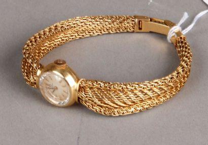 Montre-bracelet de femme en or jaune, bracelet...