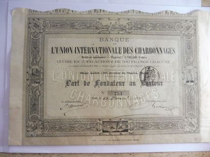BANQUE DE L'UNION INTERNATIONALE DES CHARBONNAGES,...