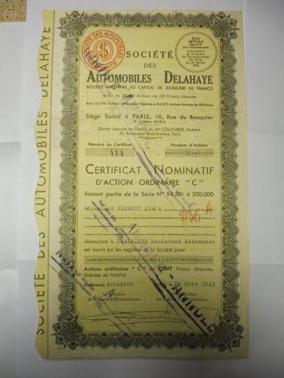 SOCIETE DES AUTOMOBILES DELAHAYE 3 certificats...