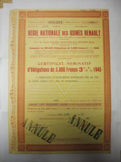 REGIE NATIONALE DES USINES RENAULT 3 certificats...