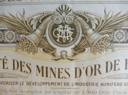 SOCIETE DES MINES D'OR DE France; action...