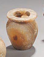 Vase à panse ovoïde et à lèvre plate. Albâtre...