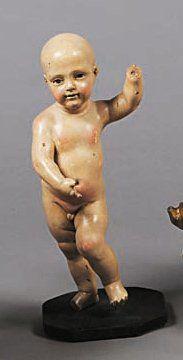 Statuette de l'Enfant Jésus en bois sculpté,...
