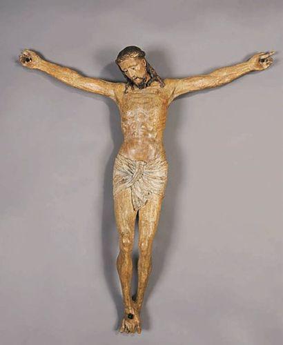 Christ en bois de tilleul sculpté polychrome....