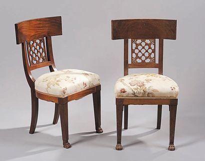 Paire de chaises en acajou et placage d'acajou,...