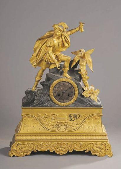 Pendule en bronze ciselé, patiné et doré...