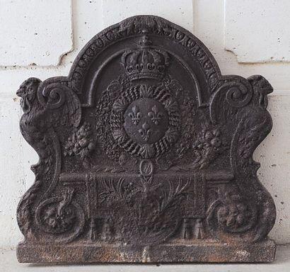 Plaque de cheminée en fonte de fer de forme...