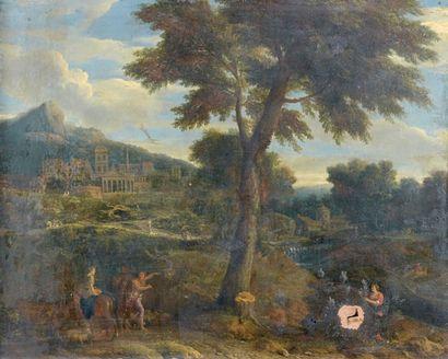 Ecole FRANÇAISE vers 1680, entourage d'Adrien MANGLARD Tour en ruine près d'un port...