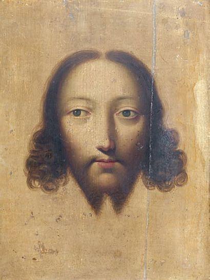 Paulus du BOYS (actif à Anvers de 1637 à 1651) Sainte Face Panneau préparé. (fente...