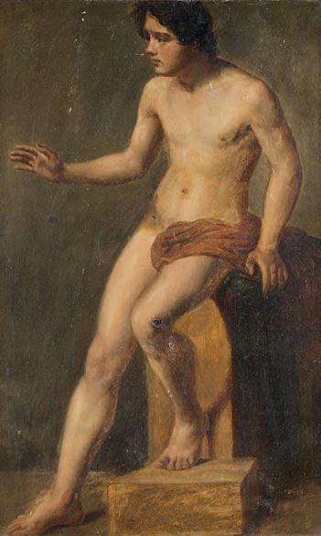 Ecole FRANÇAISE vers 1840 Académie de jeune homme Papier marouflé sur toile. 80,5...