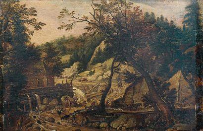 Ecole FLAMANDE du XVIIIe siècle Paysage au moulin avec un troupeau gravissant un...