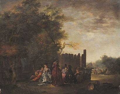 Attribué à François WATTEAU (1758-1823) Assemblée galante Panneau parqueté. 40 x...