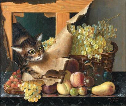 Gabriel Germain JONCHERIE (actif entre 1831 et 1844) Trompe-l'oeil à la toile déchirée...