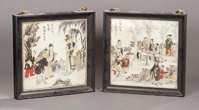 Deux panneaux quadrangulaires en albâtre à décor polychrome de personnages devant...