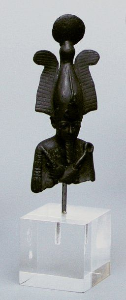 BUSTE D'OSIRIS en bronze à patine noire tenant...