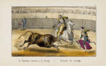 TAUROMACHIE. -VALLEJO (José). Courses de Taureaux. Réunion de 18 lithographies originales...