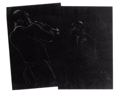 JAZZ. ARMSTRONG (Louis). Réunion de deux portraits originaux au crayon blanc sur...