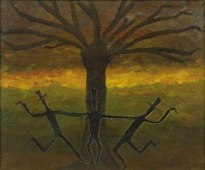 """MIME MARCEAU (Marcel Mangel). """" Danse à Trois """". Huile sur toile signée ; 75 x 64..."""