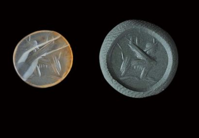Intaille ovale et plate gravée d'un sphynx...