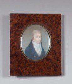 Miniature ovale représentant Pierre Marvaud en buste (1767-1832). Cadre en bois...
