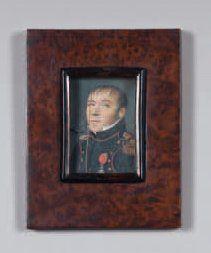 Miniature rectangulaire sur ivoire représentant Jean-Baptiste Lancery en tenue militaire....