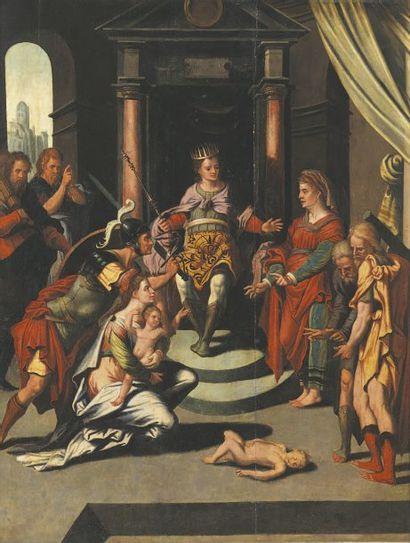 Ecole HOLLANDAISE vers 1560, entourage de Jan van SCOREL Le jugement de Salomon Panneau...