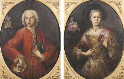 Ecole ITALIENNE du XVIIIe siècle, entourage de Giuseppe Bonito Portrait de femme...