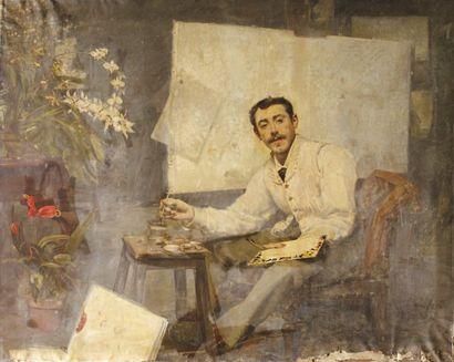 Autoportrait de l'artiste à la palette Huile...