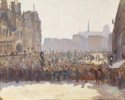 Rassemblement à l'Hôtel de Ville à Paris...
