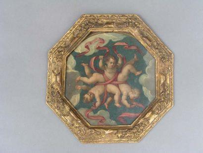 Ecole FRANCAISE, seconde moitié du XVIIe s. Ronde de trois chérubins Huile sur cuivre...