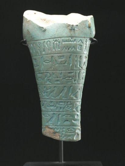 Oushebti fragmentaire à pilier dorsal et...