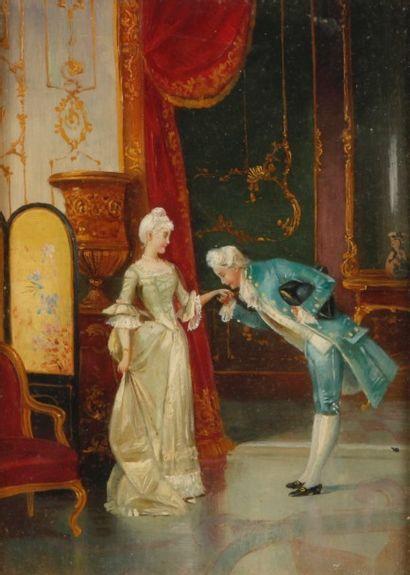 ECOLE fin XIXe siècle, dans le goût du XVIIIe siècle