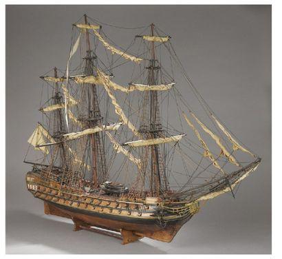 MAQUETTE d'un navire de guerre trois mâts,...