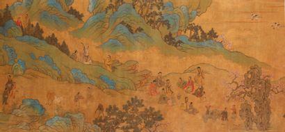 Importante PEINTURE sur soie représentant un paysage de collines rocheuses et arborées...