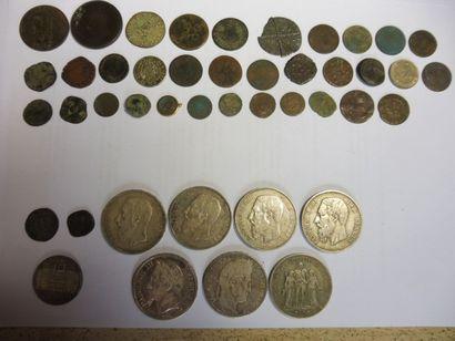 7 PIECES de 5 F belges et française, argent,...