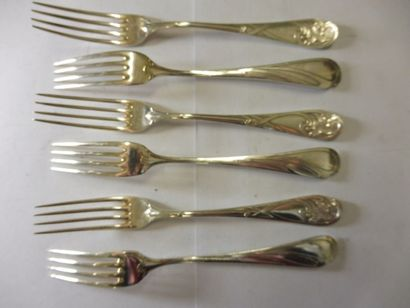 6 JOLIES FOURCHETTES A GATEAU spatule piriforme...