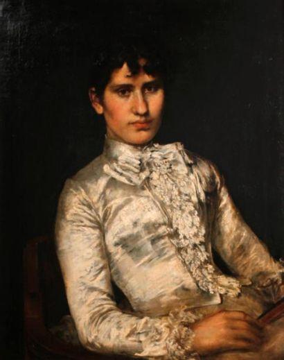 Portrait d'une femme élégante Huile sur toile...