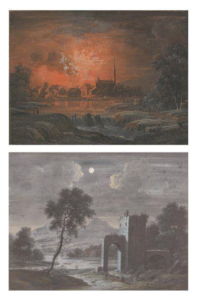 Karl Joseph Aloys AGRICOLA (1779-1852) Vues nocturnes Deux gouaches formant pendant....