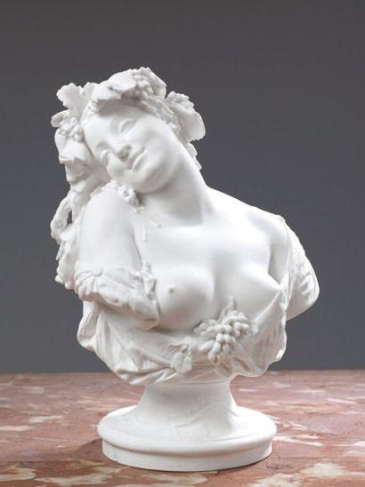 Charles Auguste ARNAUD (1825-1883) L'Automne Buste en biscuit de porcelaine dure....