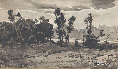Henri-Joseph HARPIGNIES (1819-1916) Paysage boisé Dessin au lavis signé en bas à...